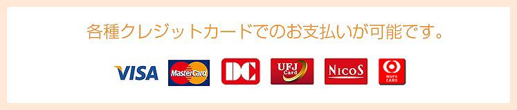 各種クレジットカードでのお支払いが可能です。