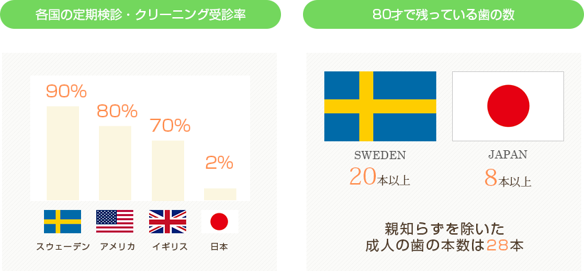 予防先進国と呼ばれている国と、日本との歯科受診率の差と残存歯の数の差